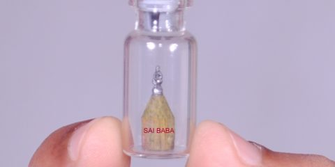 MINIATURE SAI BABA ON A PENCIL LEAD