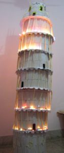 MINIATURE PISA TOWER USED ICE CREAM STICKS